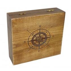 Pudełko drewniane Róża wiatrów na pędzel, maszynkę i mydło (bez zawartości)