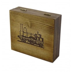 Pudełko drewniane RETRO parowóz, na pędzel, maszynkę i mydło (bez zawartości)