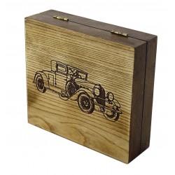 Pudełko drewniane RETRO SAMOCHÓD II, na pędzel, maszynkę i mydło, bez zawartości