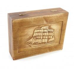 Jesionowe pudełko RETRO Żaglowiec I na zestaw z brzytwą, bez zawartości