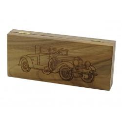 Orzechowe pudełko RETRO Samochód II na brzytwę, bez zawartości
