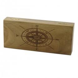 Orzechowe pudełko Róża wiatrów na brzytwę, bez zawartości