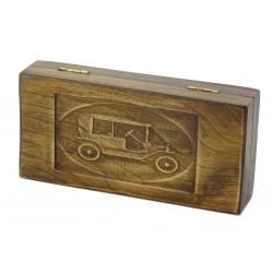 Jesionowe pudełko RETRO Samochód I na maszynkę, bez zawartości