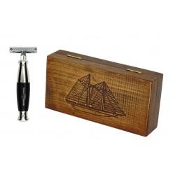 Zestaw RETRO Żaglowiec - maszynka EJ z czarną rączką, w drewnianym pudełku