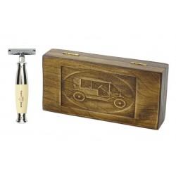 Zestaw prezentowy RETRO Samochód - maszynka EJ kość słoniowa, w drewnianym pudełku