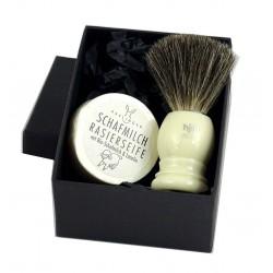 Zestaw do golenia WHITE: Pędzel z włosia borsuka i mydło z mlekiem owczym i lanoliną