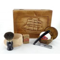 RETRO Żaglowiec 7-elementowy zestaw do golenia brzytwą w drewnianym pudełku, czarny