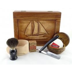 RETRO Żaglowiec II 7-elementowy zestaw do golenia brzytwą w drewnianym pudełku, czarny
