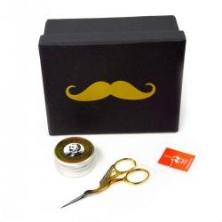 Zestaw prezentowy wosk do wąsów, nożyczki do wąsów oraz ałun w prezentowym opakowaniu