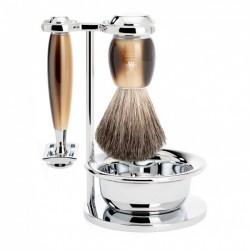 Mühle Vivo 4-el. Zestaw do golenia  Pędzel Pure Badger, Maszynka na żyletki, miseczka i stojak, jasny róg bawoli