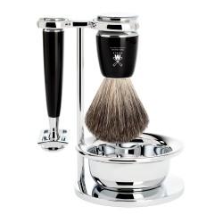 Mühle Rytmo Zestaw do golenia Pure Badger Pędzel do golenia, Maszynka na żyletki  Czarna żywica & Bol