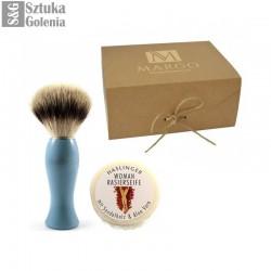 Zestaw do golenia dla kobiet - pędzel Edwin Jagger z niebieskim uchwytem i sandałowe mydło