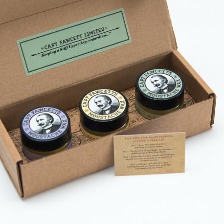 CF, Zestaw 3 wosków do wąsów: lawenda, drzewo sandałowe i ylang ylang, 3 słoiczki po 15 ml