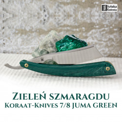 Brzytwa Koraat-Knives 7/8 JUMA GREEN szmaragd, wklęsłość near wedge, kolczasty grzbiet