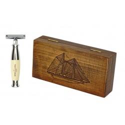 Zestaw RETRO Żaglowiec - maszynka EJ kość słoniowa w drewnianym pudełku