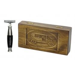 Zestaw prezentowy RETRO Samochód - maszynka EJ z czarną rączką, w drewnianym pudełku