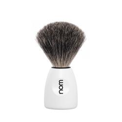 Pędzel do golenia NOM LASSE81WH, 100% borsuk, biała rączka