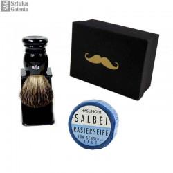 Zestaw do golenia  pędzel, stojak i mydło HJM w pudełku prezentowym