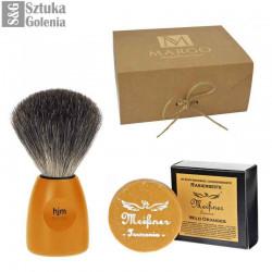 """Zestaw do golenia """"Dotyk Indii"""", Pomarańczowy pędzel z włosiem borsuka i  ekologiczne mydło do golenia"""