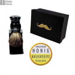 Zestaw 3-el. do golenia - czarny pędzle Muhle/HJM + stojak + mydło w pudełku hipster