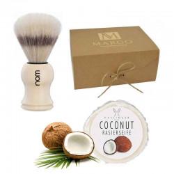 Kokosowy zestaw prezentowy pędzel czysta szczecina + mydło kokosowe