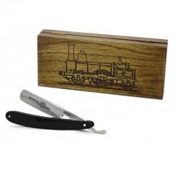 Robert Klaas, brzytwa 5/8 czarny uchwyt, drewniane pudełko jesionowe RETRO parowóz