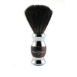 Pędzel do golenia, włosie syntetyczne czarne, kolor imitacja rogu, chromowany