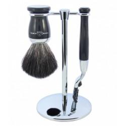 Zestaw 3-el., Gillette® Mach3® maszynka, pędzel do golenia, kolor czarny, włosie syntetyczne czarne, stojak, chromowany
