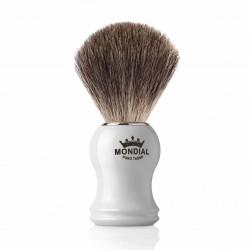 Mondial GORDON, pędzel do golenia, biała rączka, 100% Grey Badger
