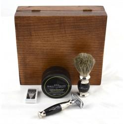 4-el Zestaw do golenia w drewnianym pudełku, czarny