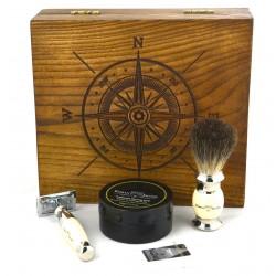 Róża wiatrów, kość słoniowa, 4-el Zestaw do golenia w drewnianym pudełku