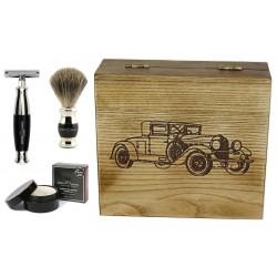 Samochód RETRO II, czarny, 4-el Zestaw do golenia w drewnianym pudełku