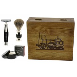 Parowóz, 4-el Zestaw do golenia w drewnianym pudełku, czarny