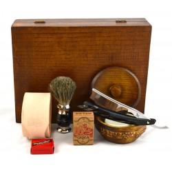 """Zestaw do golenia z brzytwą z hebanową rączką, w drewnianym pudełku """"Mapa Świata"""""""