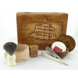 RETRO Żaglowiec 7-elementowy zestaw do golenia brzytwą w drewnianym pudełku, imitacja kości słoniowej