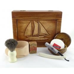 RETRO Żaglowiec II 7-elementowy zestaw do golenia brzytwą w drewnianym pudełku, imitacja kości słoniowej