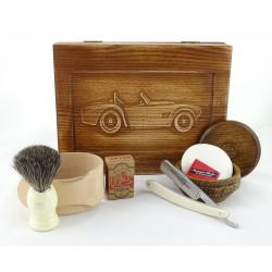 RETRO Samochód I 7-elementowy zestaw do golenia brzytwą w drewnianym pudełku, imitacja kości słoniowej