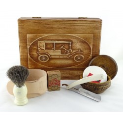 RETRO Samochód II 7-elementowy zestaw do golenia brzytwą w drewnianym pudełku