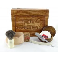 RETRO Parowóz I 7-elementowy zestaw do golenia brzytwą w drewnianym pudełku