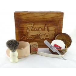 RETRO Parowóz II 7-elementowy zestaw do golenia brzytwą w drewnianym pudełku