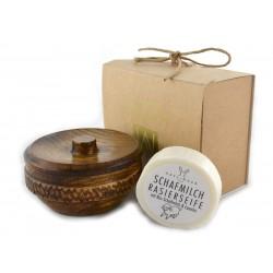 Zestaw prezentowy mydło z lanoliną w drewnianym tygielku